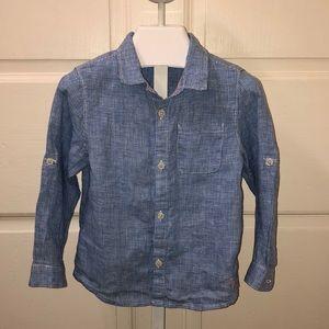 Zara Baby Linen Button Down Shirt - size 2-3T